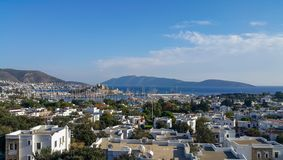 View of Bodrum castle and Marina Harbor in Aegean sea in Turkey. royalty free stock images