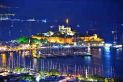 View of Bodrum harbor and Castle of St. Peter by night Royalty Free Stock Photo