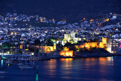 View of Bodrum harbor and Castle of St. Peter by night Royalty Free Stock Images