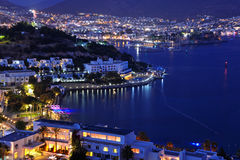 View of Bodrum harbor and Castle of St. Peter by night Royalty Free Stock Image