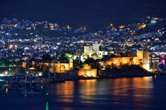 View of Bodrum harbor and Castle of St. Peter by night Royalty Free Stock Photography