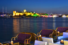 View of Bodrum harbor and Castle of St. Peter by night Stock Photos