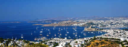 View of Bodrum harbor and Castle of St. Peter Stock Images