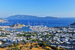 View of Bodrum harbor and Castle of St. Peter Royalty Free Stock Images