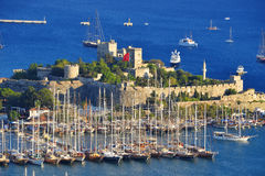 View of Bodrum harbor and Castle of St. Peter Stock Photography