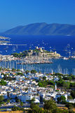 View of Bodrum harbor and Castle of St. Peter Royalty Free Stock Image