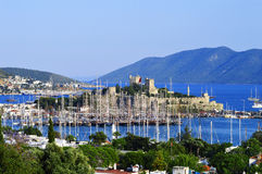 View of Bodrum harbor during hot summer day. Turkish Riviera.  Royalty Free Stock Images