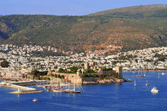 View of Bodrum harbor during hot summer day. Turkish Riviera Royalty Free Stock Photo