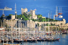 View of Bodrum harbor during hot summer day. Turkish Riviera Royalty Free Stock Images