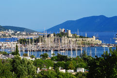 View of Bodrum harbor during hot summer day. Turkish Riviera Royalty Free Stock Photography