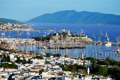 View of Bodrum harbor during hot summer day. Turkish Riviera Royalty Free Stock Image