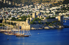 View of Bodrum harbor during hot summer day. Turkish Riviera Stock Photos