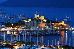 View of Bodrum harbor by night. Turkish Riviera.  Stock Photography