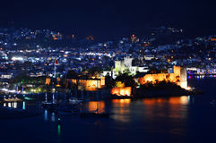 View of Bodrum harbor by night. Turkish Riviera Stock Photography