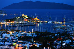 View of Bodrum harbor by night. Turkish Riviera Royalty Free Stock Photo
