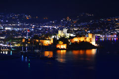 View of Bodrum harbor by night. Turkish Riviera Stock Images