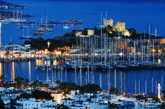 View of Bodrum harbor by night. Turkish Riviera Royalty Free Stock Photos