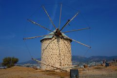 View of Bodrum and old Windmill, Mugla, Turkey royalty free stock images