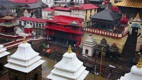 View of body cremation grounds, pashupatinath temple, kathmandu, nepal stock footage