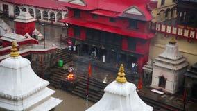 View of body cremation grounds, pashupatinath temple, kathmandu, nepal stock video