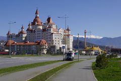 View of Bogatyr Hotel in Adler from Olympic Avenue, Russia Royalty Free Stock Photos