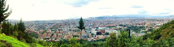 Bogota Colombia Panorama. View of Bogota, Colombia from Mount Montserrat on a cloudy day royalty free stock image