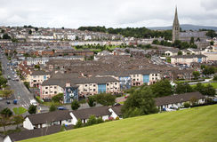 A view of the Bogside, the catholic enclave, from the old City walls of Londonderry. This area of Derry was a stronghold for IRA sympathizers during the Royalty Free Stock Photos