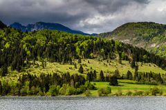 View of the Bohinj lake in Triglav national park Slovenia Royalty Free Stock Images