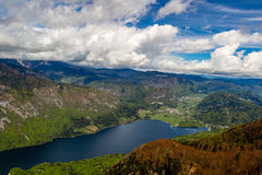 View of the Bohinj lake in Triglav national park Slovenia Royalty Free Stock Photography