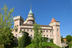The view of Bojnice castle in the springtime. Stock Image
