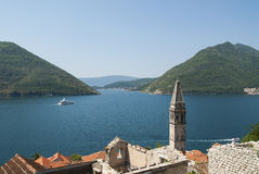 View of Boka bay in Montenegro over town of Perast Royalty Free Stock Photo