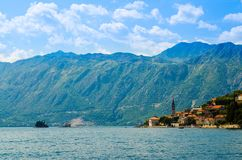 View of Boka Kotor bay with Perast town, Montenegro stock images