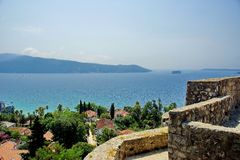 View of the Boka-Kotorska bay from the fortress Herceg Novi. The town of Herceg Novi in Montenegro. The fortress in the Old town royalty free stock image