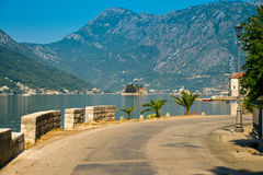 View on Boka Kotorska bay. From the promenade of Perast, Montenegro Royalty Free Stock Photography