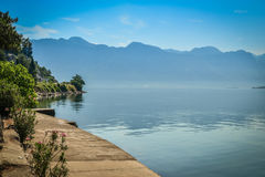View on Boka Kotorska bay. From the promenade of Perast, Montenegro Royalty Free Stock Images