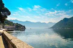 View on  Boka Kotorska bay. From the promenade of Perast, Montenegro Stock Photography
