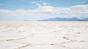 View of the Bolivian salt flats. View of the salt crystals on the Bolivian salt flats Stock Image