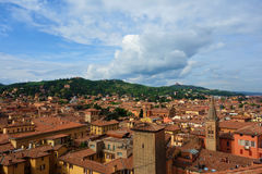 View of Bologna, Italy. Red rooftops in the Italian city of Bologna Stock Photos