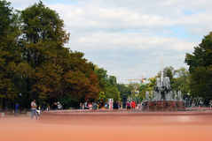 View of Bolotnaya square in Moscow on Moscow City Day celebration Stock Image