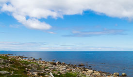 The view from the Bolshoi Zayatsky Island to the White Sea. Stock Images
