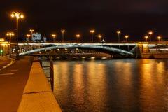 View of Bolshoy Kamenny Bridge above Moskva river at night royalty free stock photography
