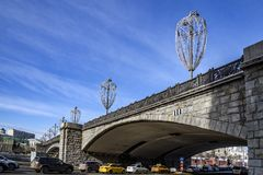 View of the Bolshoy Kamenny Bridge in the spring sunny day. stock images