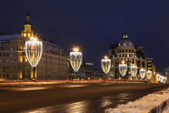 View of Bolshoy Moskvoretsky bridge with lanterns in the form of glasses of champagne in the evening, Moscow Stock Photos