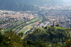 A view of Bolzano from the surrounding mountains. Bolzano or Bozen, capital of the province of Bolzano-Bozen, is a city and commune in the Trentino-Alto Adige/ stock images