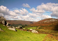 View from Bonehill Rocks to Bell Tor Dartmoor. Looking accross the valley Royalty Free Stock Photo
