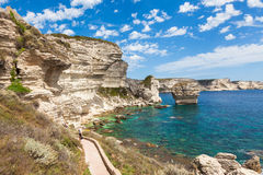 View of Bonifacio cliff coast rocks, Corsica island, France Royalty Free Stock Photography