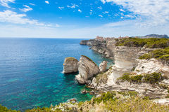 View of Bonifacio old town built on top of cliff rocks, Corsica Royalty Free Stock Images