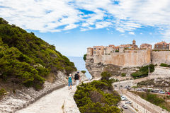 View of Bonifacio old town built on top of cliff rocks, Corsica Royalty Free Stock Image