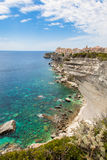 View of Bonifacio old town built on top of cliff rocks Corsica Stock Image