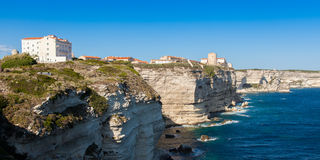 View of Bonifacio old town built on top of cliff rocks Corsica Royalty Free Stock Photo
